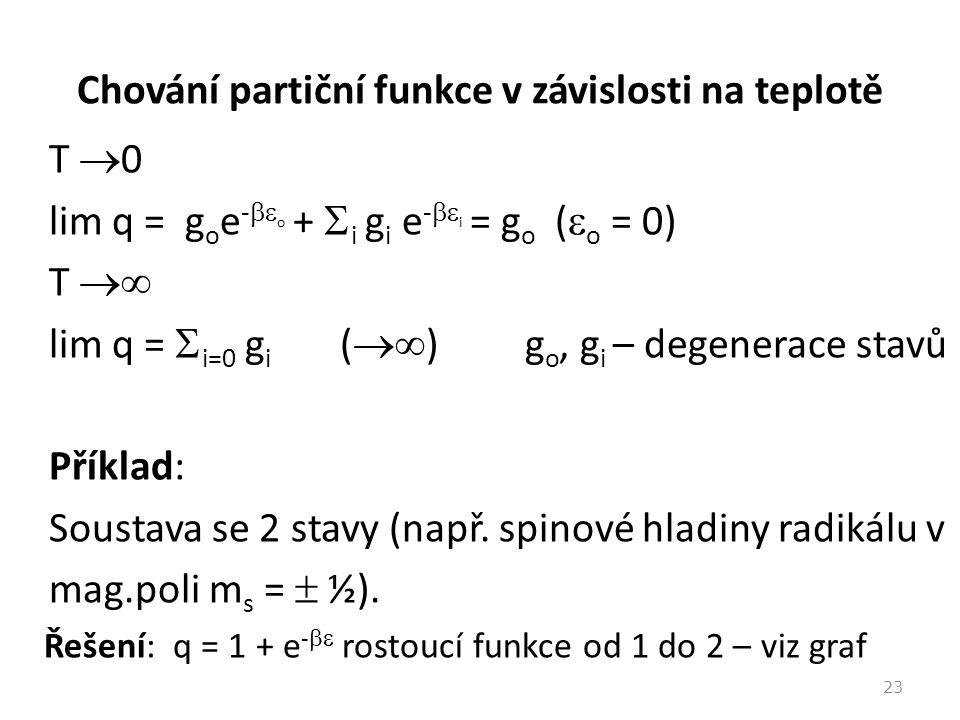 Chování partiční funkce v závislosti na teplotě T  0 lim q = g o e -  o +  i g i e -  i = g o (  o = 0) T  lim q =  i=0 g i (  ) g o, g i