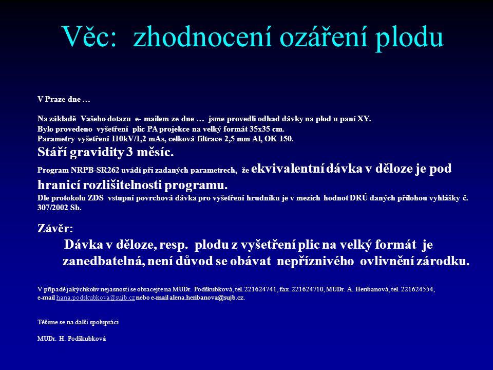 Věc: zhodnocení ozáření plodu STÁTNÍ ÚŘAD PRO JADERNOU BEZPEČNOST 110 00 Praha 1, Senovážné náměstí 9 Telefon: 2216 24111, FAX:2216 24 710 V Praze dne