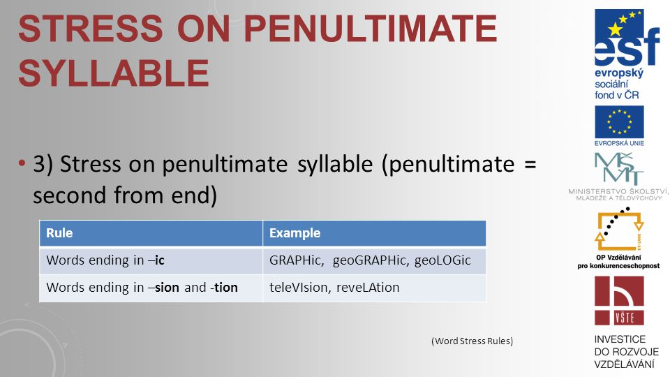 STRESS ON PENULTIMATE SYLLABLE 3) Stress on penultimate syllable (penultimate = second from end) RuleExample Words ending in –icGRAPHic, geoGRAPHic, geoLOGic Words ending in –sion and -tionteleVIsion, reveLAtion (Word Stress Rules)