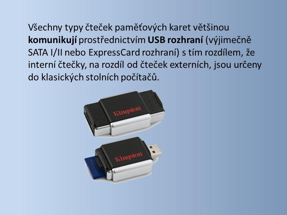 Všechny typy čteček paměťových karet většinou komunikují prostřednictvím USB rozhraní (výjimečně SATA I/II nebo ExpressCard rozhraní) s tím rozdílem, že interní čtečky, na rozdíl od čteček externích, jsou určeny do klasických stolních počítačů.