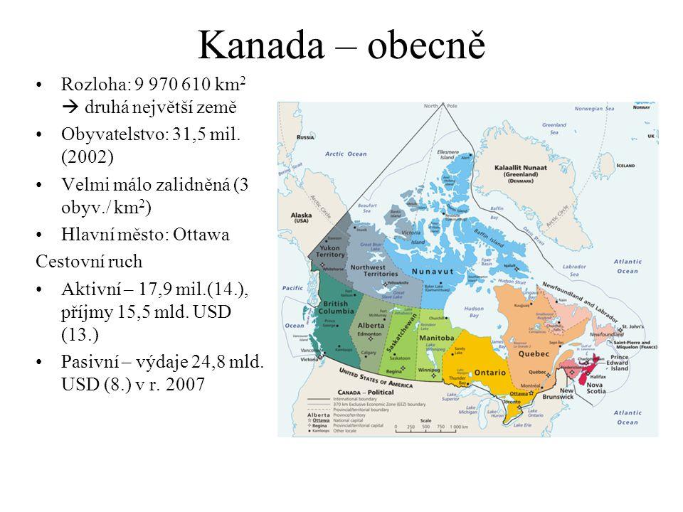 Kanada – obecně Rozloha: 9 970 610 km 2  druhá největší země Obyvatelstvo: 31,5 mil.