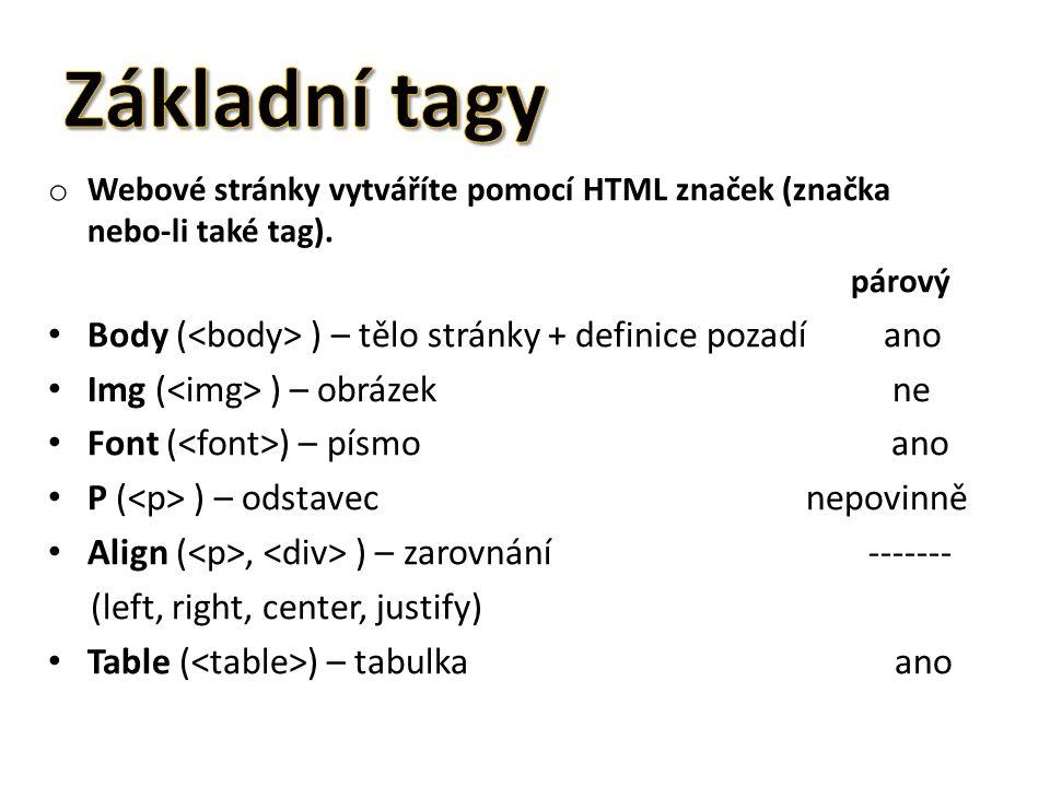 o Webové stránky vytváříte pomocí HTML značek (značka nebo-li také tag).