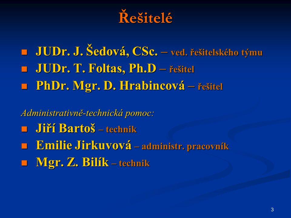 3 Řešitelé JUDr. J. Šedová, CSc. – ved. řešitelského týmu JUDr.