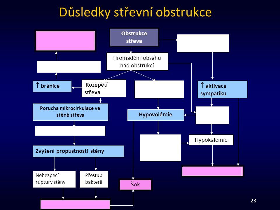 23 Důsledky střevní obstrukce Hypoventilace, (respirační insuficience, pneumonie)  respirační objem  bránice Obstrukce střeva Hromadění obsahu nad o