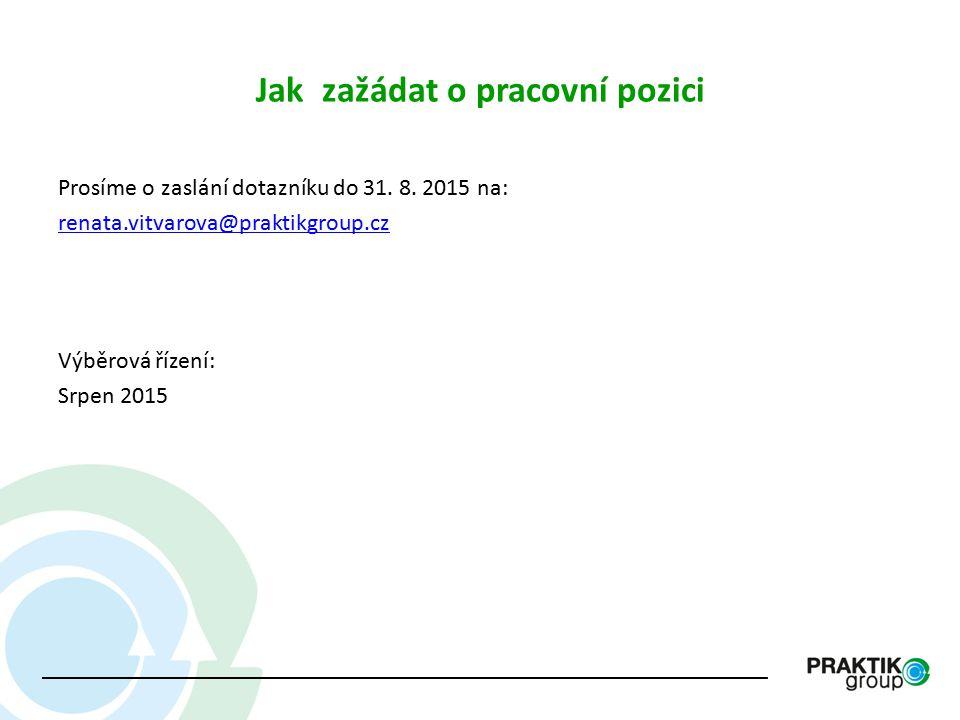 Jak zažádat o pracovní pozici Prosíme o zaslání dotazníku do 31. 8. 2015 na: renata.vitvarova@praktikgroup.cz Výběrová řízení: Srpen 2015
