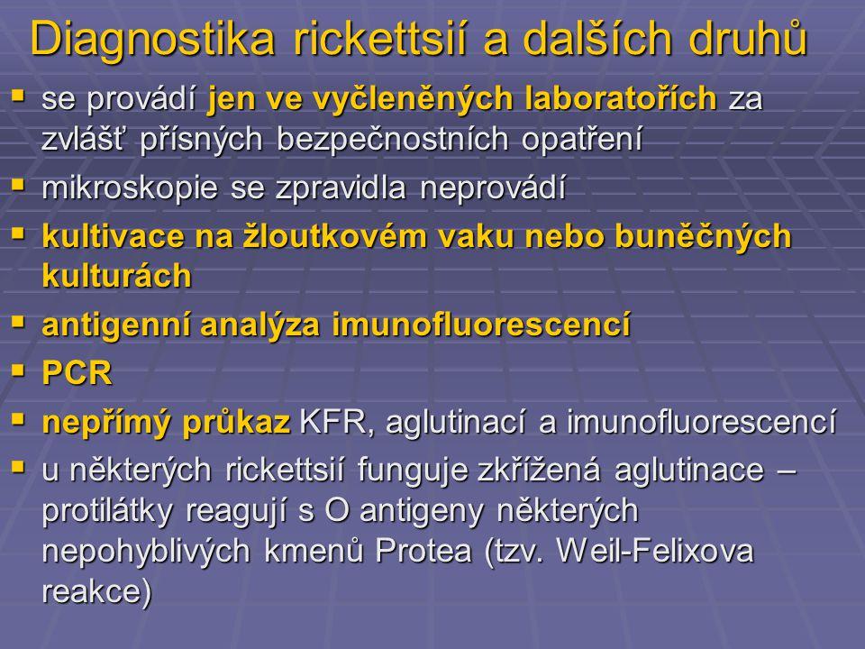 Diagnostika rickettsií a dalších druhů  se provádí jen ve vyčleněných laboratořích za zvlášť přísných bezpečnostních opatření  mikroskopie se zpravidla neprovádí  kultivace na žloutkovém vaku nebo buněčných kulturách  antigenní analýza imunofluorescencí  PCR  nepřímý průkaz KFR, aglutinací a imunofluorescencí  u některých rickettsií funguje zkřížená aglutinace – protilátky reagují s O antigeny některých nepohyblivých kmenů Protea (tzv.