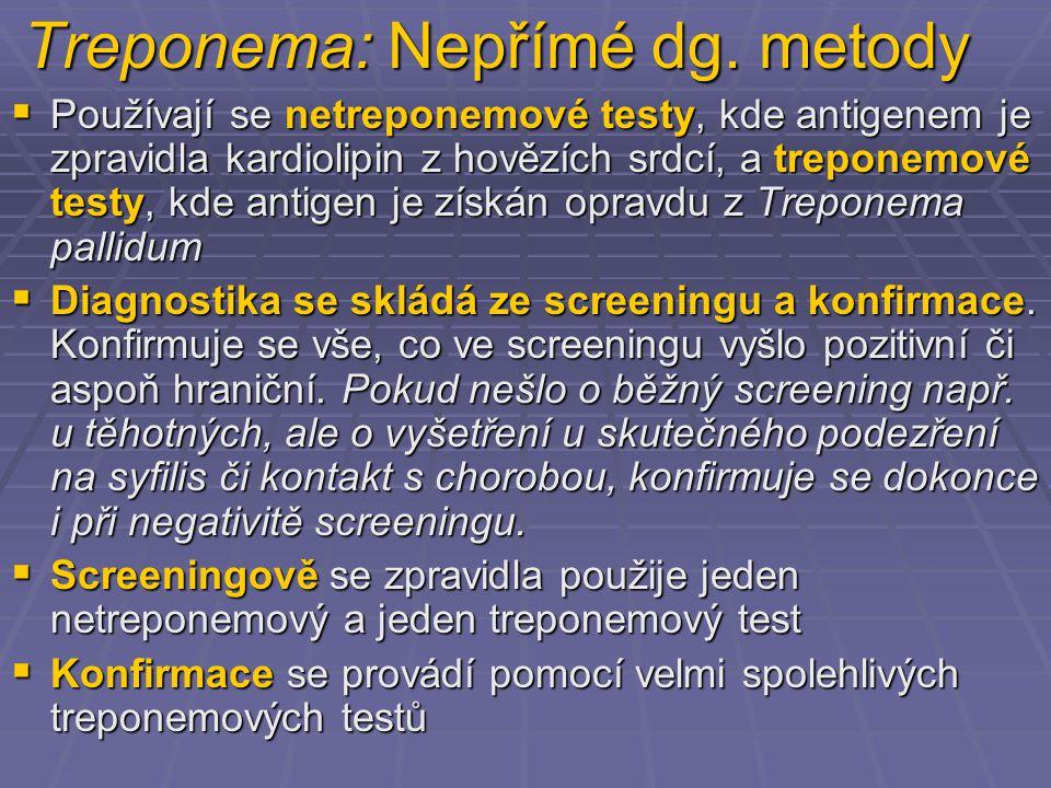 Treponema: Nepřímé dg. metody  Používají se netreponemové testy, kde antigenem je zpravidla kardiolipin z hovězích srdcí, a treponemové testy, kde an