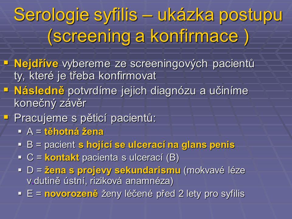 Serologie syfilis – ukázka postupu (screening a konfirmace )  Nejdříve vybereme ze screeningových pacientů ty, které je třeba konfirmovat  Následně potvrdíme jejich diagnózu a učiníme konečný závěr  Pracujeme s pěticí pacientů:  A = těhotná žena  B = pacient s hojící se ulcerací na glans penis  C = kontakt pacienta s ulcerací (B)  D = žena s projevy sekundarismu (mokvavé léze v.dutině ústní, riziková anamnéza)  E = novorozeně ženy léčené před 2 lety pro syfilis