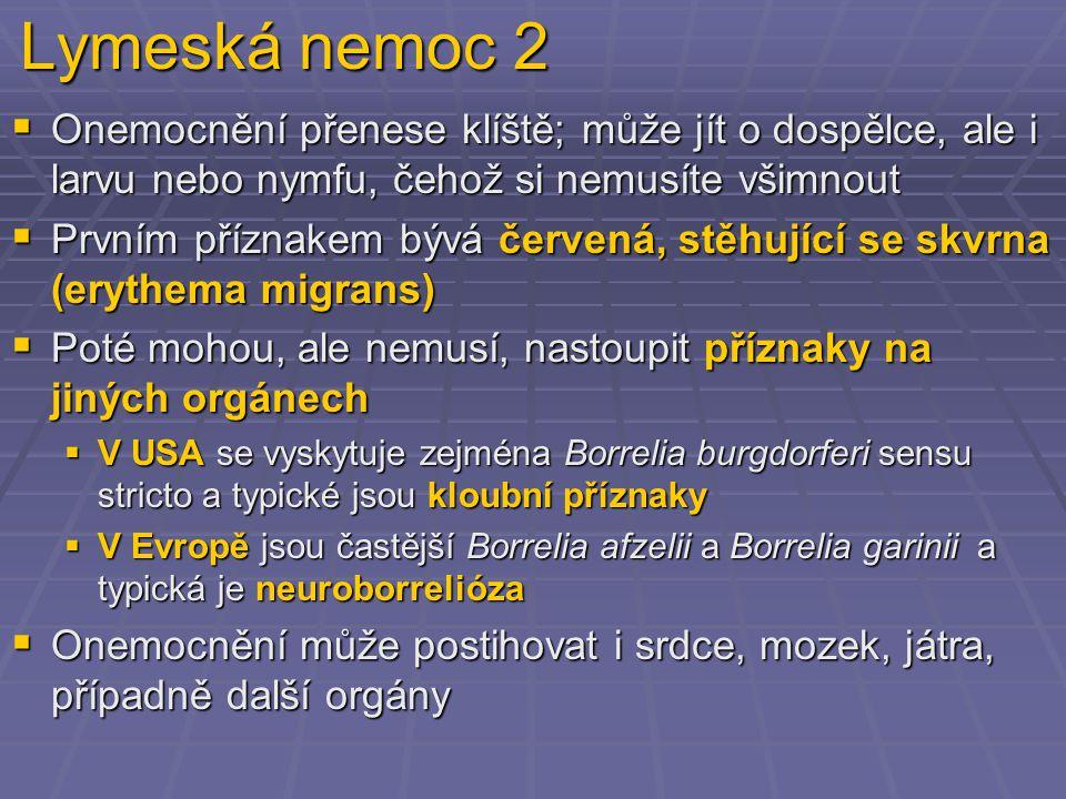 Lymeská nemoc 2  Onemocnění přenese klíště; může jít o dospělce, ale i larvu nebo nymfu, čehož si nemusíte všimnout  Prvním příznakem bývá červená, stěhující se skvrna (erythema migrans)  Poté mohou, ale nemusí, nastoupit příznaky na jiných orgánech  V USA se vyskytuje zejména Borrelia burgdorferi sensu stricto a typické jsou kloubní příznaky  V Evropě jsou častější Borrelia afzelii a Borrelia garinii a typická je neuroborrelióza  Onemocnění může postihovat i srdce, mozek, játra, případně další orgány