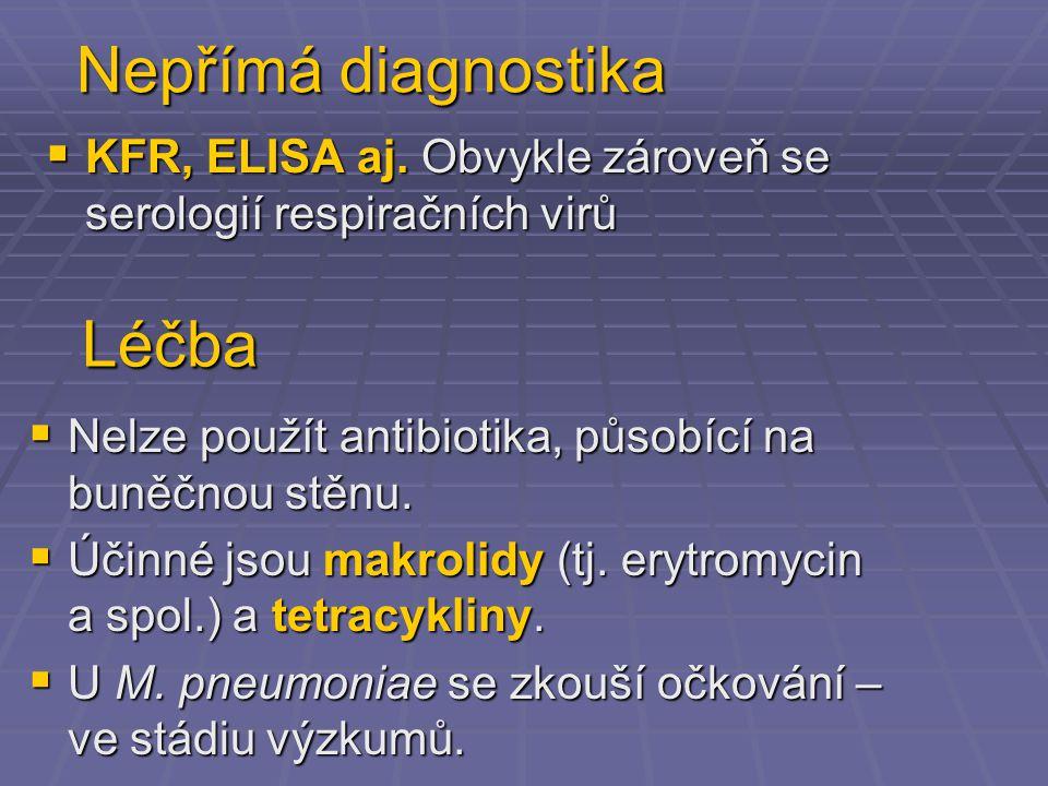 Nepřímá diagnostika  KFR, ELISA aj. Obvykle zároveň se serologií respiračních virů  Nelze použít antibiotika, působící na buněčnou stěnu.  Účinné j
