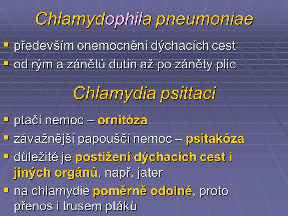 Chlamydophila pneumoniae  především onemocnění dýchacích cest  od rým a zánětů dutin až po záněty plic Chlamydia psittaci  ptačí nemoc – ornitóza  závažnější papouščí nemoc – psitakóza  důležité je postižení dýchacích cest i jiných orgánů, např.