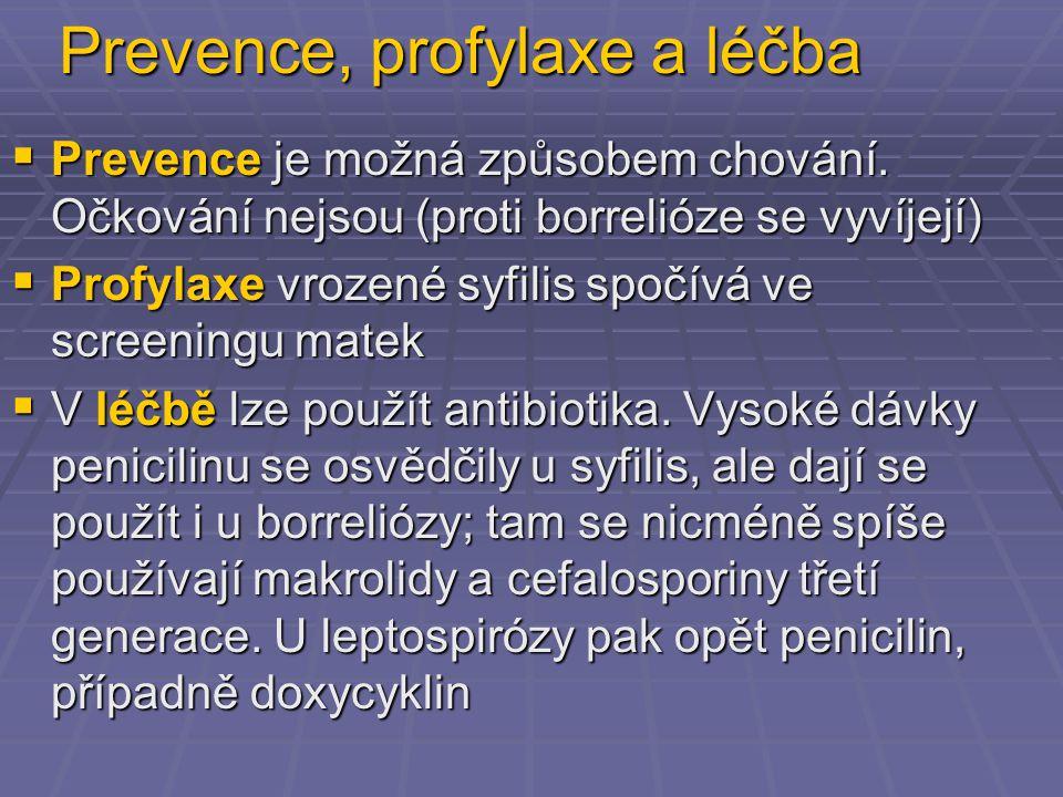 Prevence, profylaxe a léčba  Prevence je možná způsobem chování. Očkování nejsou (proti borrelióze se vyvíjejí)  Profylaxe vrozené syfilis spočívá v