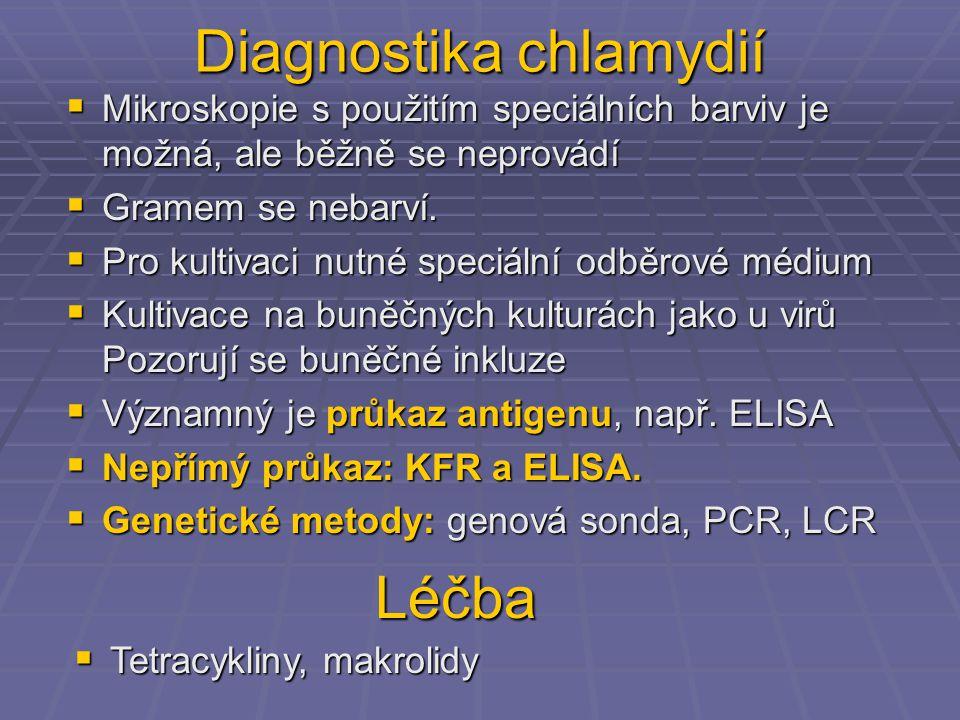Diagnostika chlamydií  Mikroskopie s použitím speciálních barviv je možná, ale běžně se neprovádí  Gramem se nebarví.