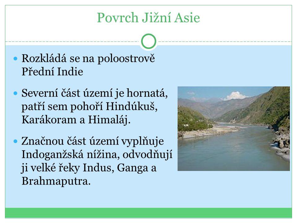 Povrch Jižní Asie Rozkládá se na poloostrově Přední Indie Severní část území je hornatá, patří sem pohoří Hindúkuš, Karákoram a Himaláj.