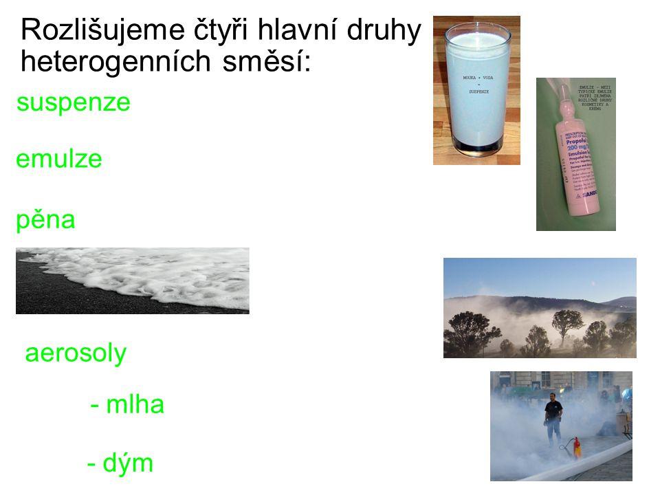 Rozlišujeme čtyři hlavní druhy heterogenních směsí: suspenze emulze pěna aerosoly - mlha - dým