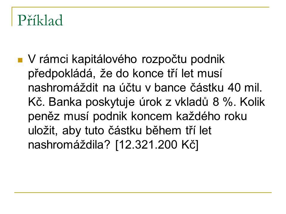 Příklad V rámci kapitálového rozpočtu podnik předpokládá, že do konce tří let musí nashromáždit na účtu v bance částku 40 mil. Kč. Banka poskytuje úro