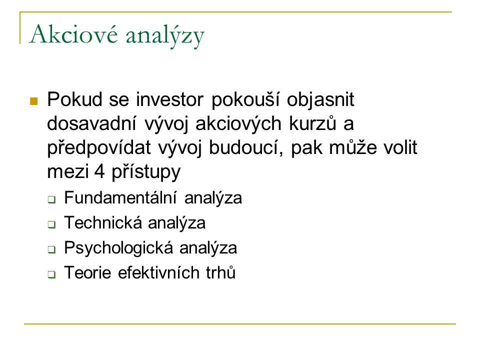 Pokud se investor pokouší objasnit dosavadní vývoj akciových kurzů a předpovídat vývoj budoucí, pak může volit mezi 4 přístupy  Fundamentální analýza