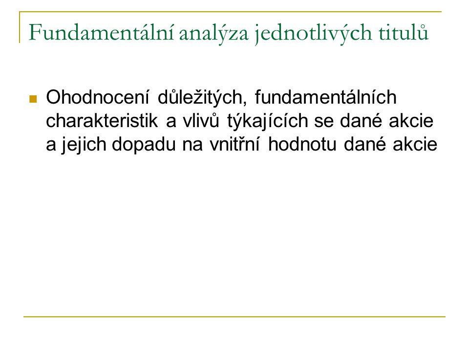Fundamentální analýza jednotlivých titulů Ohodnocení důležitých, fundamentálních charakteristik a vlivů týkajících se dané akcie a jejich dopadu na vn