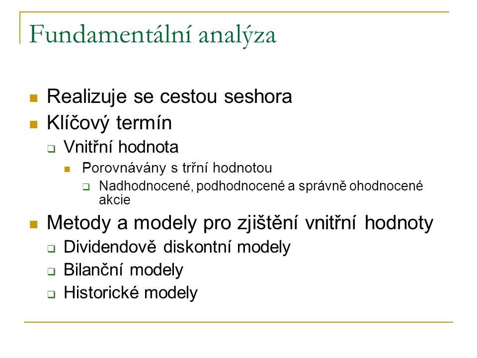 Fundamentální analýza Realizuje se cestou seshora Klíčový termín  Vnitřní hodnota Porovnávány s trřní hodnotou  Nadhodnocené, podhodnocené a správně