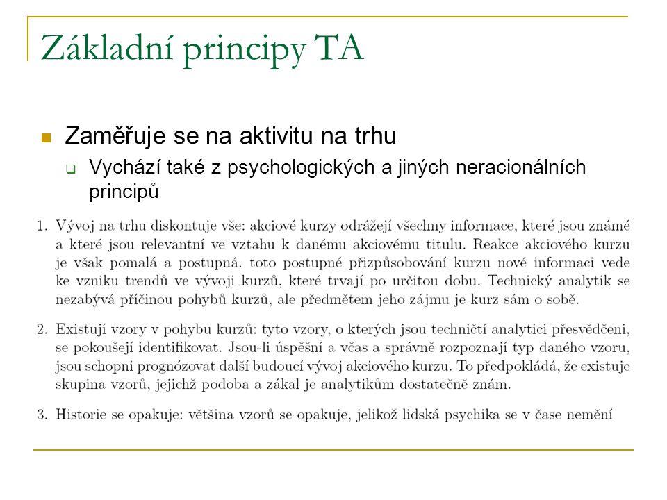 Základní principy TA Zaměřuje se na aktivitu na trhu  Vychází také z psychologických a jiných neracionálních principů