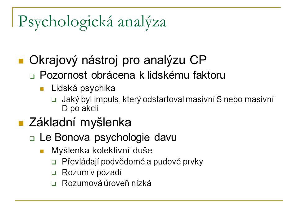 Psychologická analýza Okrajový nástroj pro analýzu CP  Pozornost obrácena k lidskému faktoru Lidská psychika  Jaký byl impuls, který odstartoval mas