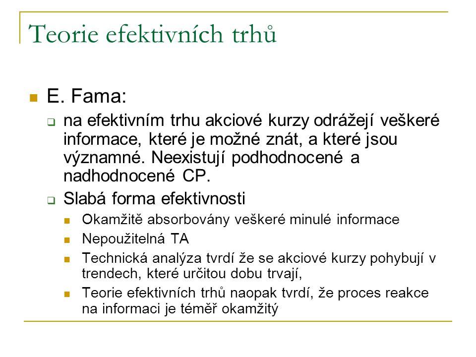 Teorie efektivních trhů E. Fama:  na efektivním trhu akciové kurzy odrážejí veškeré informace, které je možné znát, a které jsou významné. Neexistují