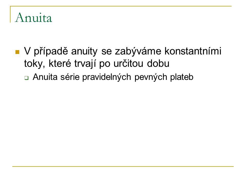 Anuita Budoucí hodnota anuity  Spoření pevné částky v pevných intervalech  Předlhůtní  Polhůtní