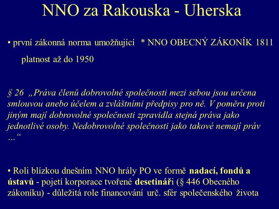 """NNO za Rakouska - Uherska první zákonná norma umožňující * NNO OBECNÝ ZÁKONÍK 1811 platnost až do 1950 § 26 """"Práva členů dobrovolné společnosti mezi sebou jsou určena smlouvou anebo účelem a zvláštními předpisy pro ně."""