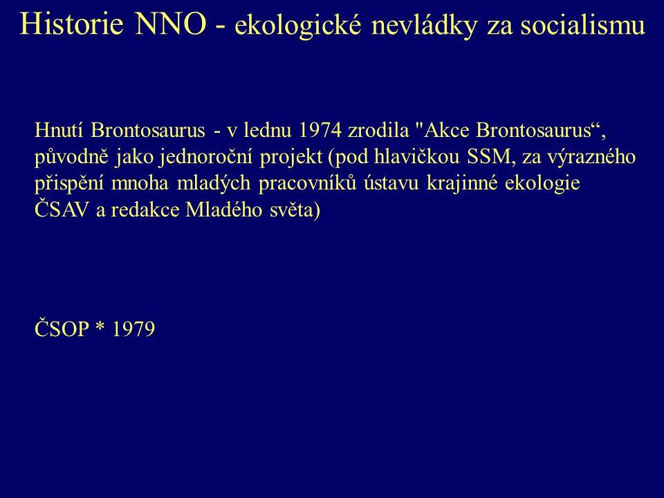 Historie NNO - ekologické nevládky za socialismu Hnutí Brontosaurus - v lednu 1974 zrodila Akce Brontosaurus , původně jako jednoroční projekt (pod hlavičkou SSM, za výrazného přispění mnoha mladých pracovníků ústavu krajinné ekologie ČSAV a redakce Mladého světa) ČSOP * 1979
