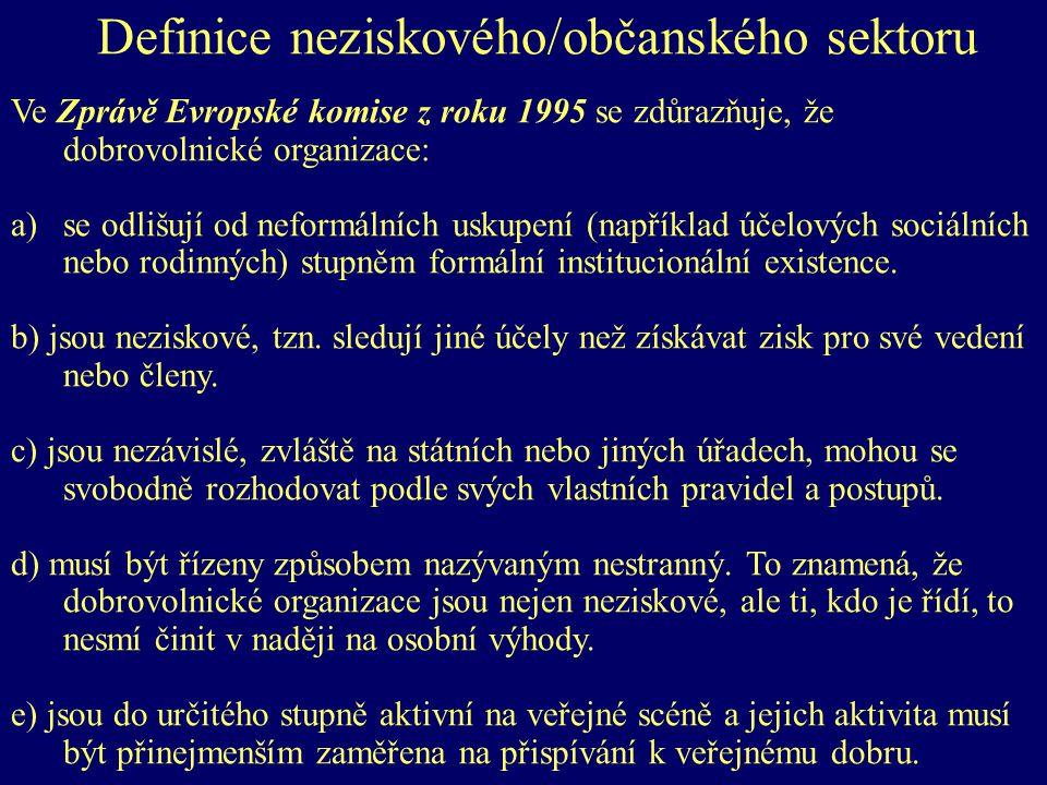 Definice neziskového/občanského sektoru Ve Zprávě Evropské komise z roku 1995 se zdůrazňuje, že dobrovolnické organizace: a)se odlišují od neformálních uskupení (například účelových sociálních nebo rodinných) stupněm formální institucionální existence.