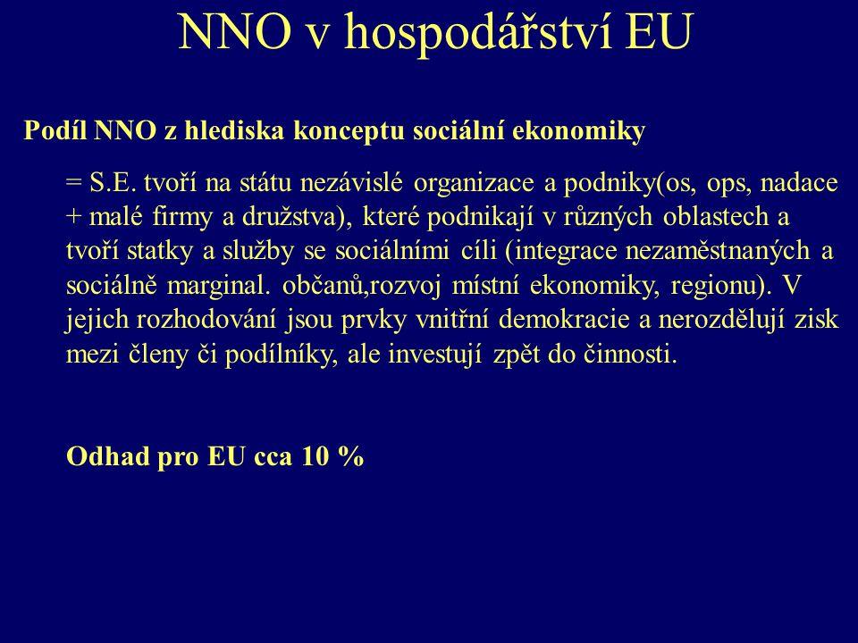 NNO v hospodářství ČR - zaměstnanost Podíl NNO na zaměstnanosti 36 555 pracovníků v roce 2003 = 0,71 % ekonomicky aktivních 60 % nárůst oproti roku 1999 (nejvíce členské organizace, potom sport)