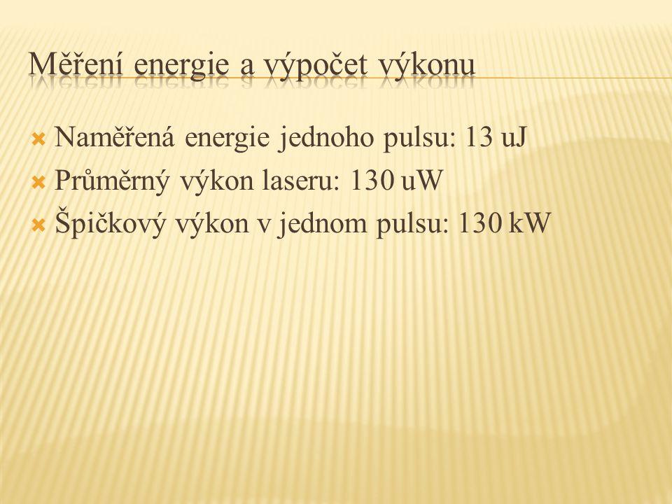  Naměřená energie jednoho pulsu: 13 uJ  Průměrný výkon laseru: 130 uW  Špičkový výkon v jednom pulsu: 130 kW