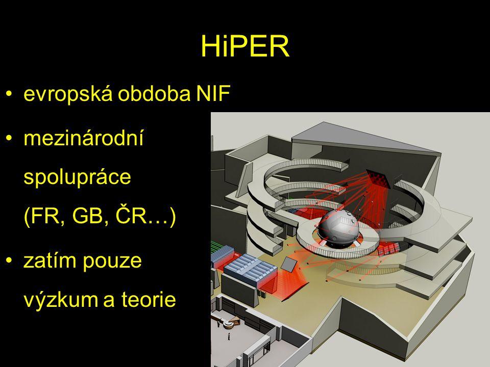HiPER evropská obdoba NIF mezinárodní spolupráce (FR, GB, ČR…) zatím pouze výzkum a teorie