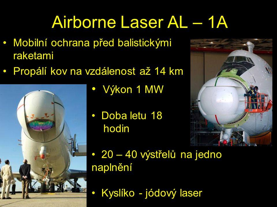 Airborne Laser AL – 1A Mobilní ochrana před balistickými raketami Propálí kov na vzdálenost až 14 km část 5 Moderní fyzika http://danyk.wz.cz/laser3.html Výkon 1 MW Doba letu 18 hodin 20 – 40 výstřelů na jedno naplnění Kyslíko - jódový laser