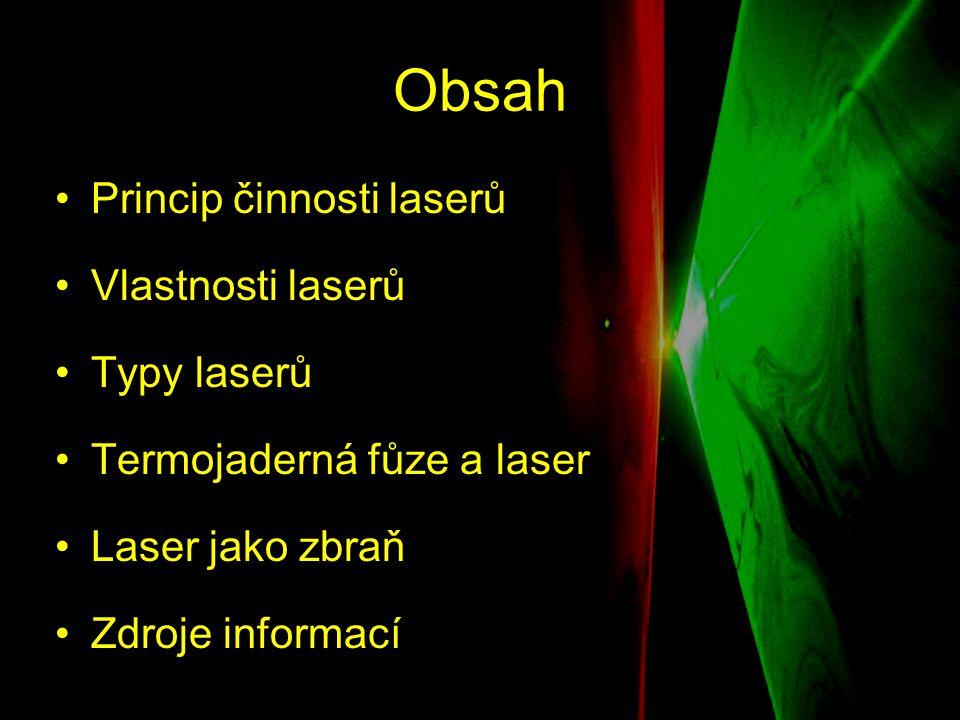 Princip činnosti laseru ●Absorpce ●Spontánní emise ●Stimulovaná emise ●Populační inverze