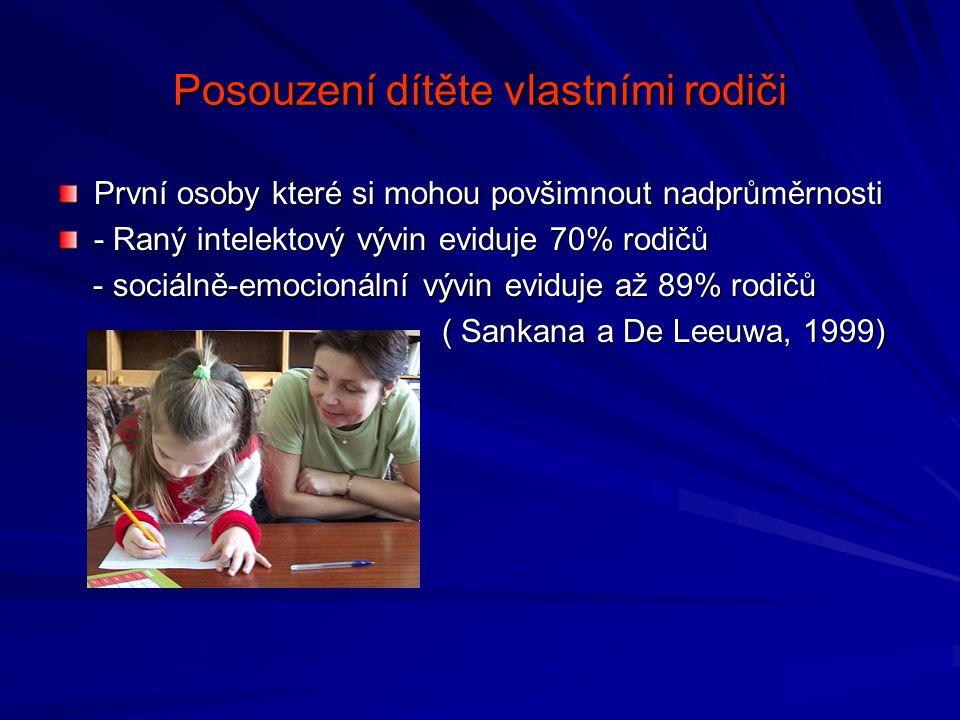 Posouzení dítěte vlastními rodiči První osoby které si mohou povšimnout nadprůměrnosti - Raný intelektový vývin eviduje 70% rodičů - sociálně-emocionální vývin eviduje až 89% rodičů - sociálně-emocionální vývin eviduje až 89% rodičů ( Sankana a De Leeuwa, 1999)