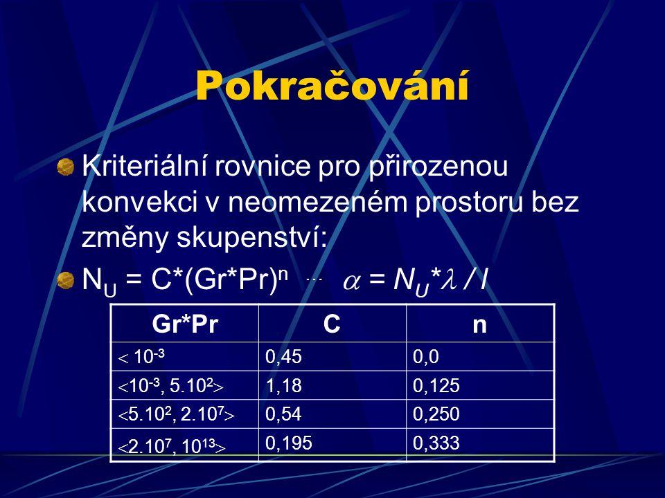 Pokračování Kriteriální rovnice pro přirozenou konvekci v neomezeném prostoru bez změny skupenství: N U = C*(Gr*Pr) n …  = N U * / l Gr*PrCn  10 -3 0,450,0  10 -3, 5.10 2  1,180,125  5.10 2, 2.10 7  0,540,250  2.10 7, 10 13  0,1950,333