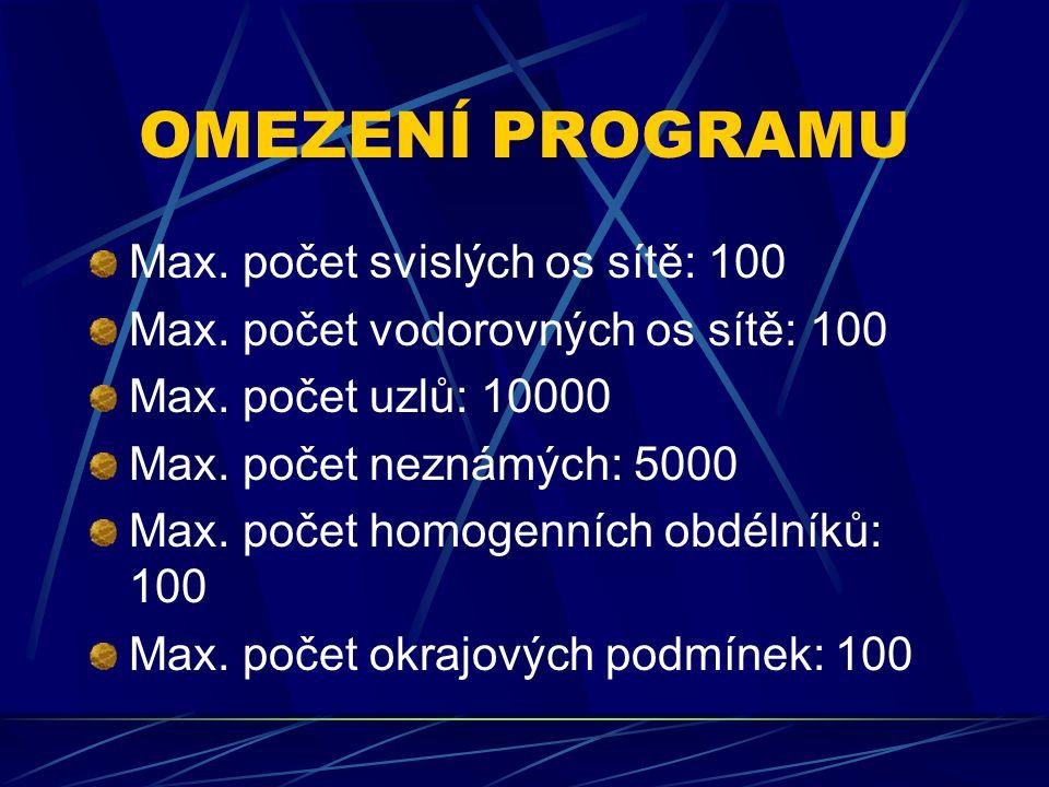 OMEZENÍ PROGRAMU Max. počet svislých os sítě: 100 Max.