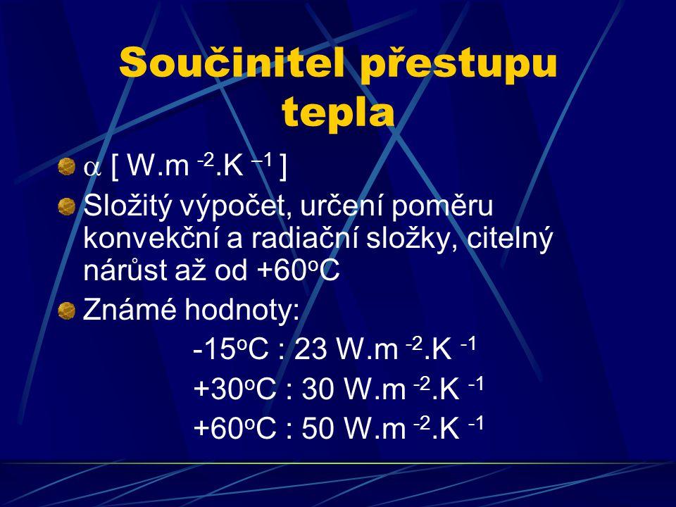 Součinitel přestupu tepla  [ W.m -2.K –1 ] Složitý výpočet, určení poměru konvekční a radiační složky, citelný nárůst až od +60 o C Známé hodnoty: -15 o C : 23 W.m -2.K -1 +30 o C : 30 W.m -2.K -1 +60 o C : 50 W.m -2.K -1
