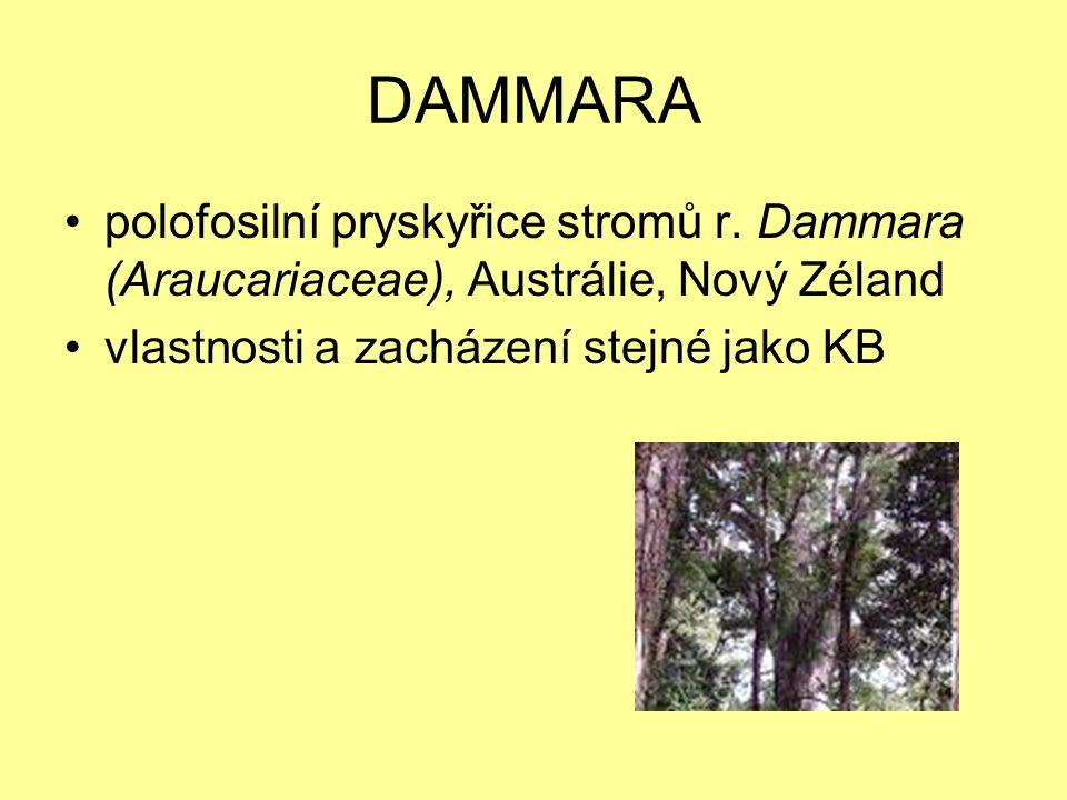DAMMARA polofosilní pryskyřice stromů r. Dammara (Araucariaceae), Austrálie, Nový Zéland vlastnosti a zacházení stejné jako KB