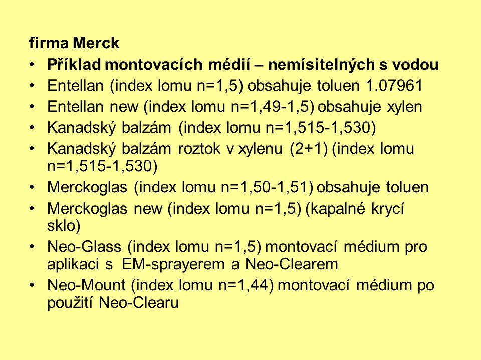firma Merck Příklad montovacích médií – nemísitelných s vodou Entellan (index lomu n=1,5) obsahuje toluen 1.07961 Entellan new (index lomu n=1,49-1,5)