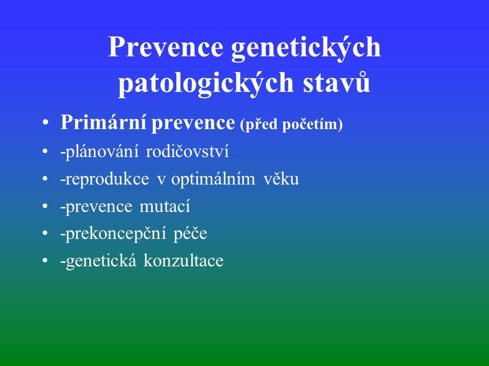 Prevence genetických patologických stavů Primární prevence (před početím) -plánování rodičovství -reprodukce v optimálním věku -prevence mutací -preko