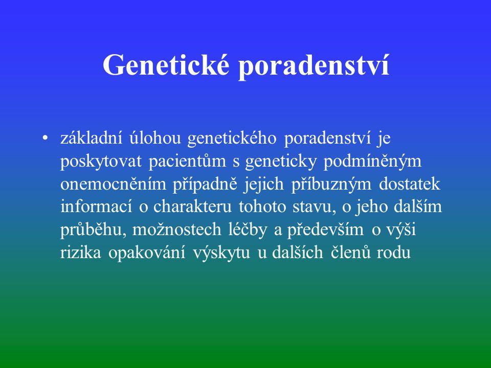 Genetické poradenství základní úlohou genetického poradenství je poskytovat pacientům s geneticky podmíněným onemocněním případně jejich příbuzným dos