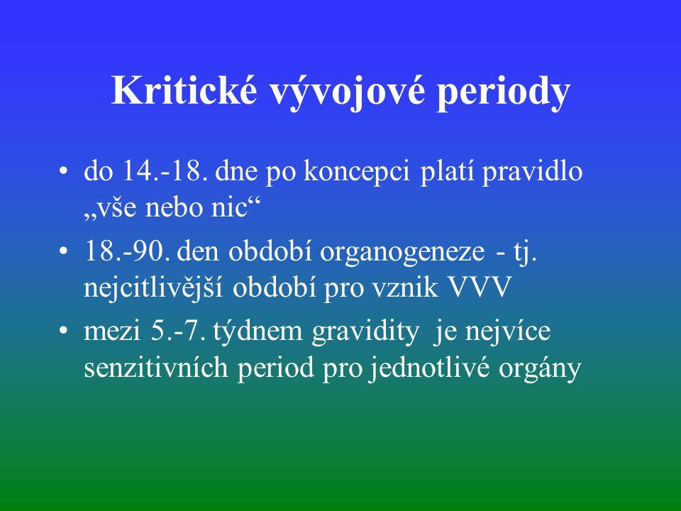 """Kritické vývojové periody do 14.-18. dne po koncepci platí pravidlo """"vše nebo nic"""" 18.-90. den období organogeneze - tj. nejcitlivější období pro vzni"""