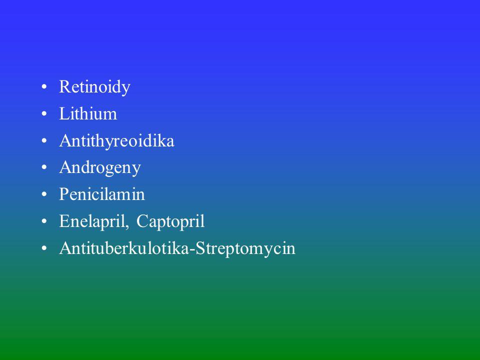 Retinoidy Lithium Antithyreoidika Androgeny Penicilamin Enelapril, Captopril Antituberkulotika-Streptomycin