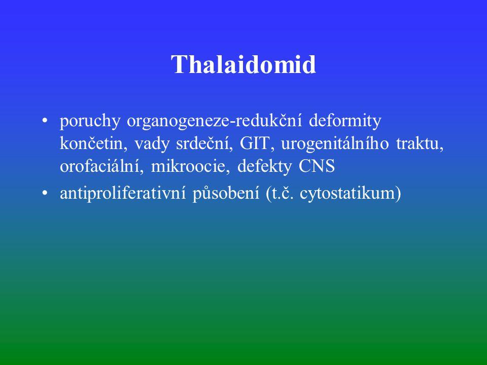 Thalaidomid poruchy organogeneze-redukční deformity končetin, vady srdeční, GIT, urogenitálního traktu, orofaciální, mikroocie, defekty CNS antiproliferativní působení (t.č.