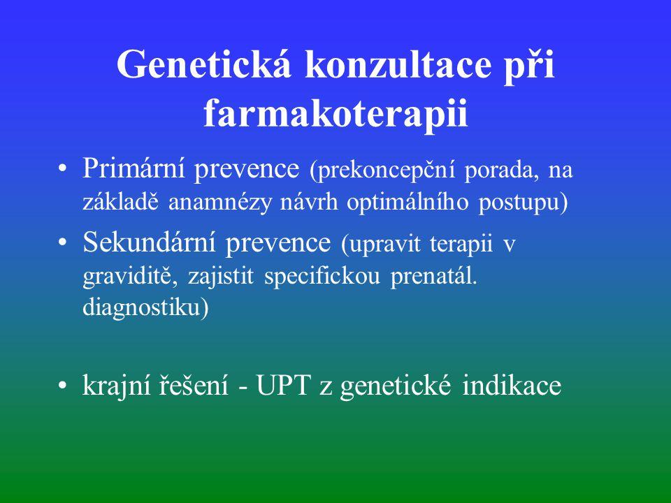 Genetická konzultace při farmakoterapii Primární prevence (prekoncepční porada, na základě anamnézy návrh optimálního postupu) Sekundární prevence (upravit terapii v graviditě, zajistit specifickou prenatál.
