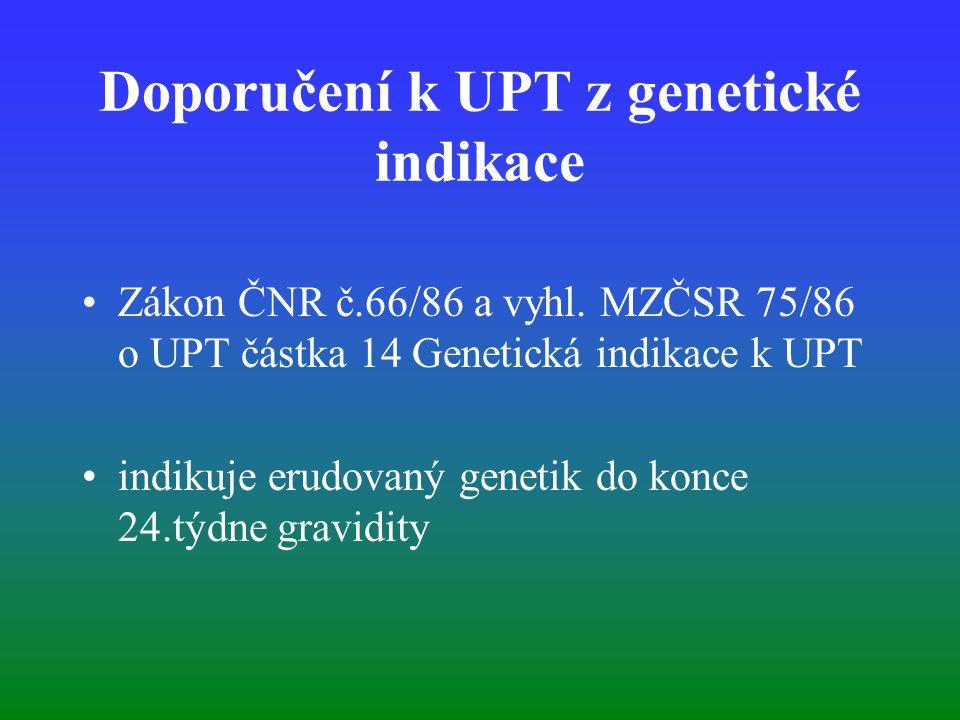 Doporučení k UPT z genetické indikace Zákon ČNR č.66/86 a vyhl. MZČSR 75/86 o UPT částka 14 Genetická indikace k UPT indikuje erudovaný genetik do kon