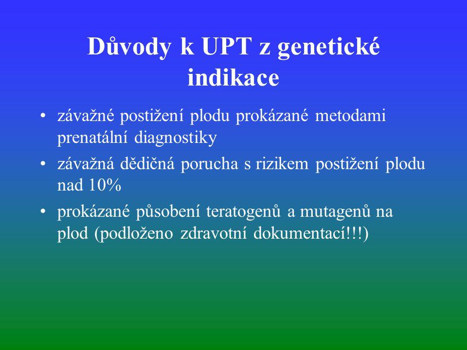Důvody k UPT z genetické indikace závažné postižení plodu prokázané metodami prenatální diagnostiky závažná dědičná porucha s rizikem postižení plodu