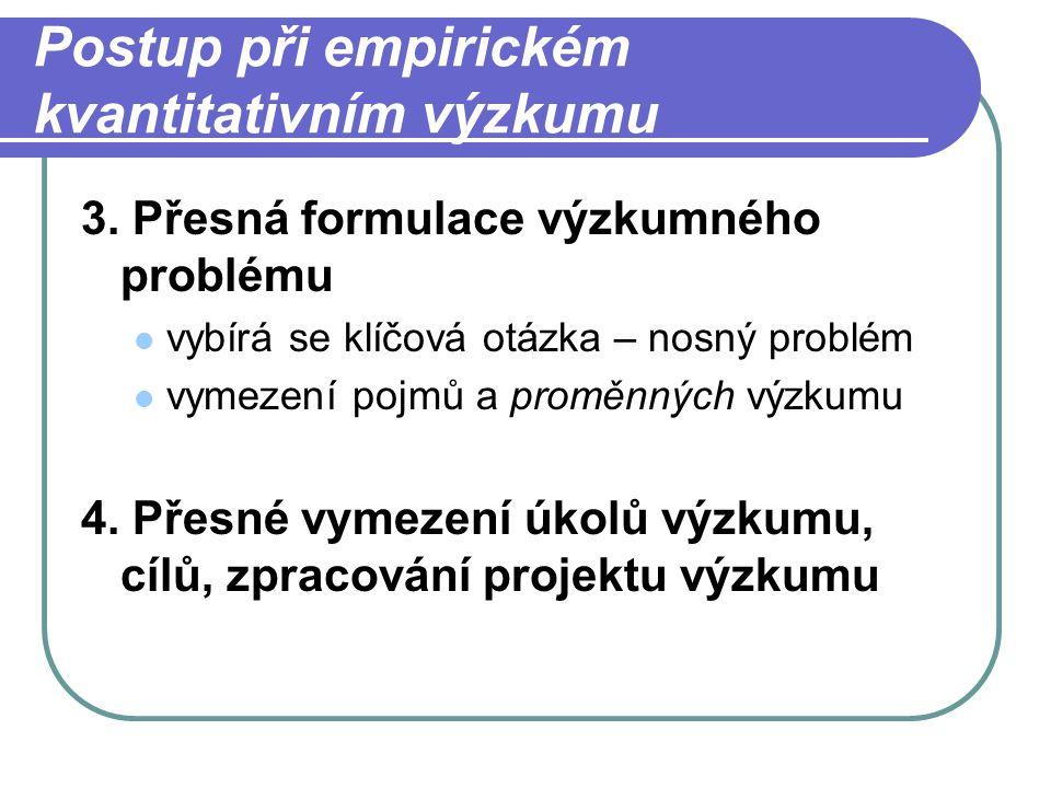 Postup při empirickém kvantitativním výzkumu 3.